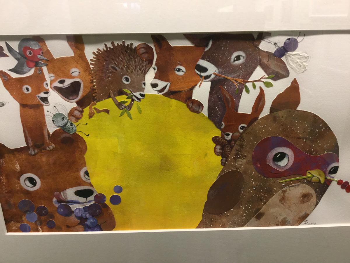 Sari Airolan kollaasikuvitusta kirjaan Metsän outo vieras