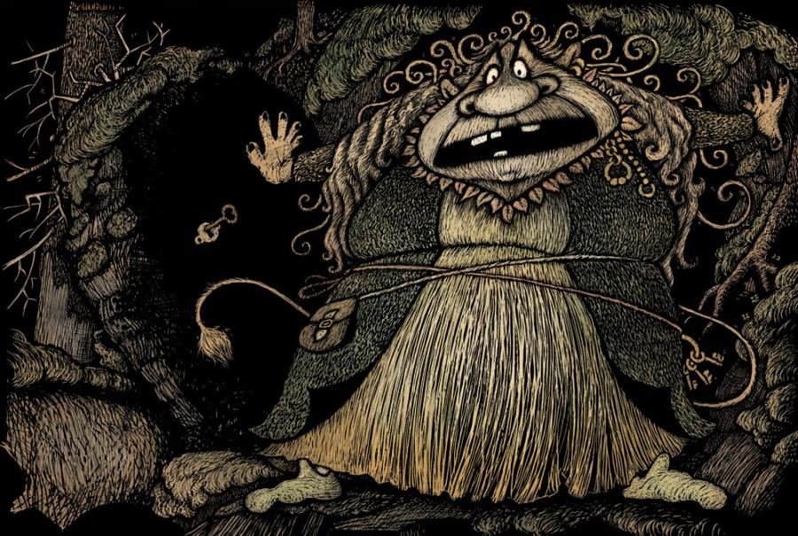 Metsässä rymähtää ja kallion sisältä saapuu Gargatuula, hurja vuorenpeikko. Sen hengitys haisee hieltä ja mädältä madolta. Kuvitusta Lena Frölander-Ulfin teokseen Minä, Muru ja metsä (Kustantamo S&S, 2016).